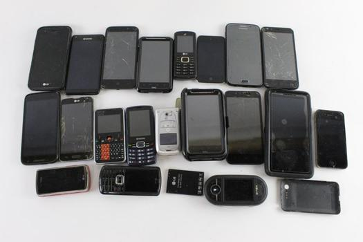 Cell Phone Lot, 18 Pieces, Sold For Parts
