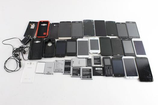 Cell Phone Lot, 19 Pieces, Sold For Parts