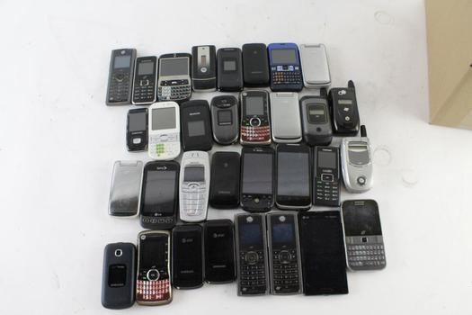 Cell Phone Lot, 20+ Pieces, Sold For Parts