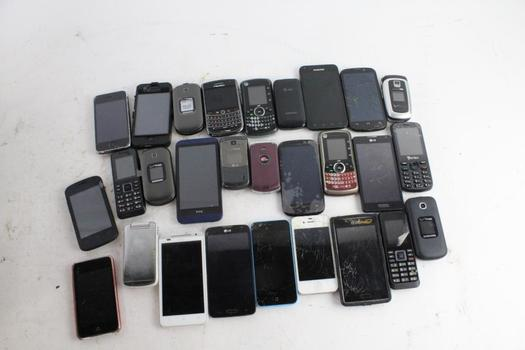 Cell Phone Lot, 25+ Pieces, Sold For Parts