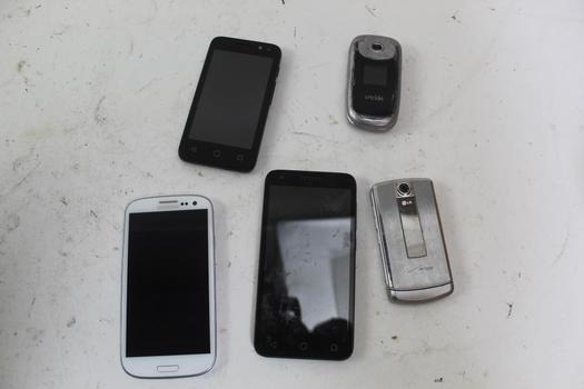 Cell Phone Lot, 5 Pieces, Sold For Parts
