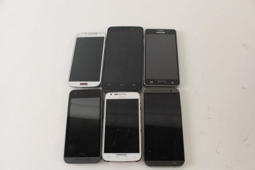 Cell Phone Lot, 6 Pieces, Sold For Parts