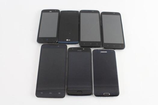 Cell Phone Lot, 7 Pieces, Sold For Parts