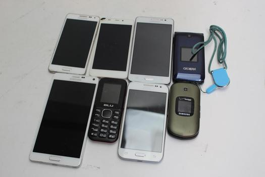 Cell Phone Lot, 8  Pieces, Sold For Parts