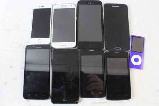 Cell Phone Lot, 8 Pieces, Sold For Parts And More