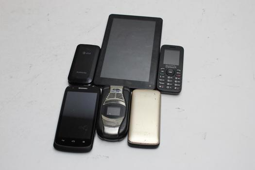 Cell Phone Lot And Tablet,  6 Pieces, Sold For Parts