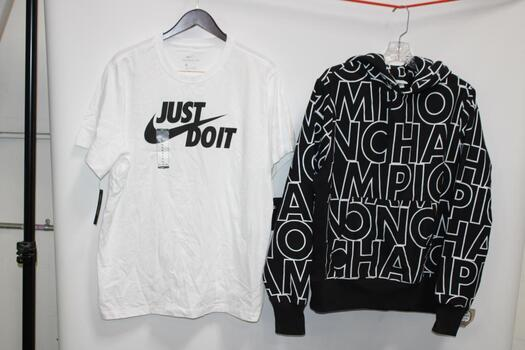 Champion Black And White Hoodie Size M And Nike White T-Shirt Size XL