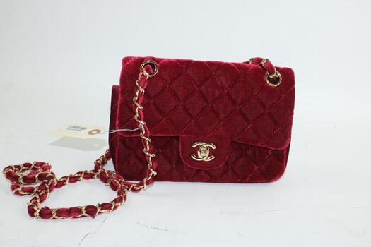 Chanel Handbag Velvet Quilted Bag