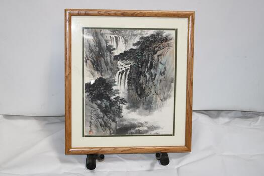 Chinese Watercolor Painting With Red Seal - Forest Waterfall