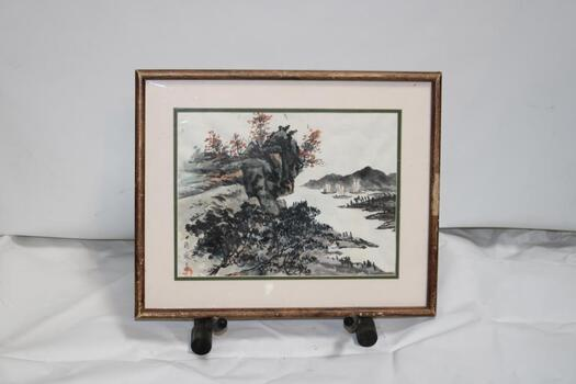 Chinese Watercolor Painting With Red Seal - Sailboats On A Lake