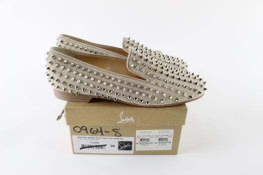 Christian Louboutin Rolling Spikes Flat Veau Velours Women's Shoes, Size 38