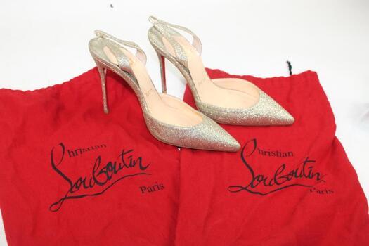 Christian Loudboutin Women's Gold Glitter Heels Size 6