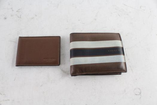 Coach Men's Leather Bi-Fold Wallets, 2 Pieces