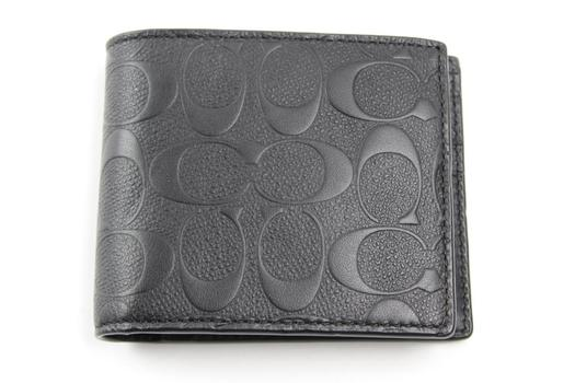 Coach Men's Signature Embossed Crossgrain Leather Compact ID Wallet F75371