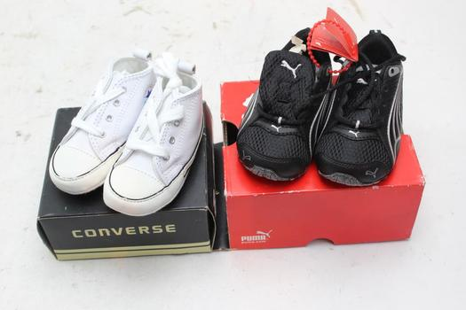Converse, Puma Infant Boy Shoes, Size 3, 2 Pieces
