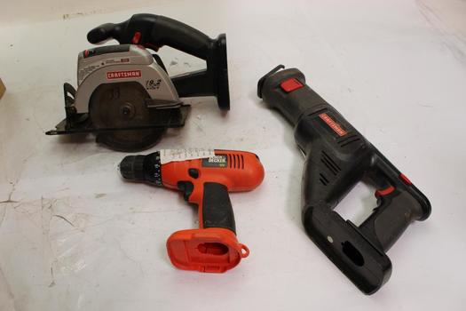 Craftsman And Black & Decker Power Tool Bulk Lot, 3 Pieces