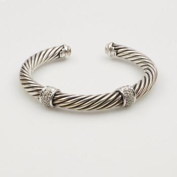David Yurman 18k White Gold Sterling Silver Diamond Cable Cuff Bracelet