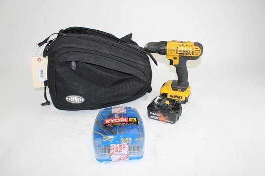 Dewalt DCD771 Drill Driver & Bits In Ryobi Case Inside Cortech Black Bag