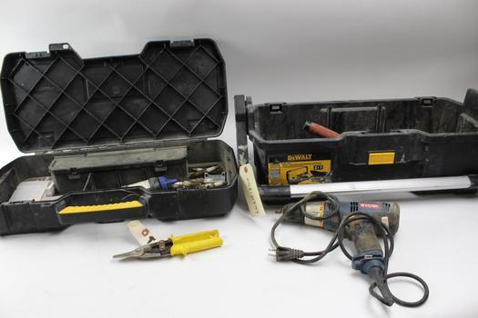 Dewalt Tool Case, Ryobi Drill+ More Tools 7 Pieces