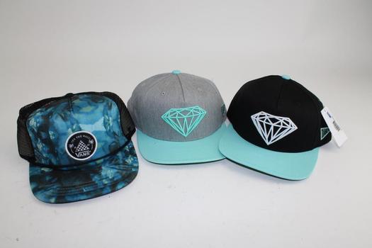 Diamond & Vans Snapback Caps; 3 Pieces