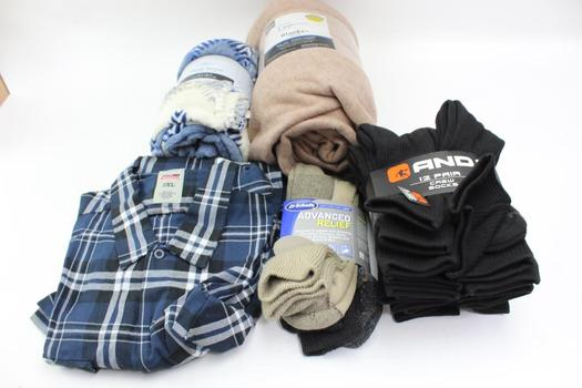 Dickies Button Up Shirt, Blankets And Socks: 5 Items