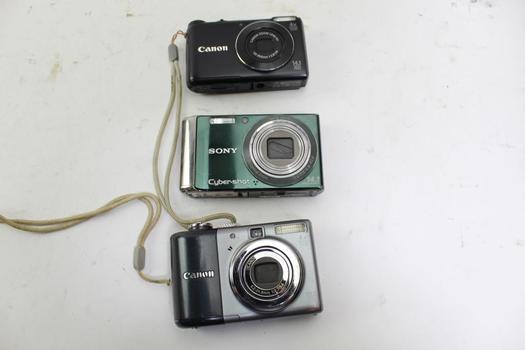 Digital Cameras: Canon, Sony: 3 Items