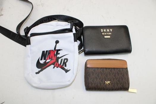 DKNY & Michael Kors Wallets & An Air Jordan Shoulder Small Bag; 3 Pieces