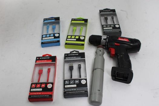 Drill Master Cordless Drill, Xtreme IPhone Chargers And More Bulk Lot, 9 Pieces