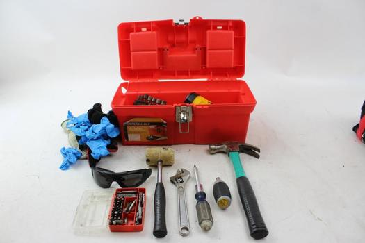 Durabuilt Tool Box With Stanley, Craftsman, Steelwork, & More Assorted Tools; 10+ Pieces
