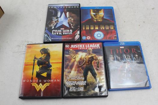 Dvds And BluRay: Wonder Woman, Iron Man, Thor And More: 5 Items