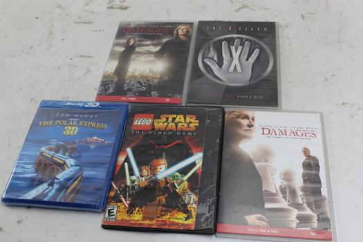 Dvds, Bluray Discs: Damages, Lego Star Wars, Polar Express, X Files: 5 Items