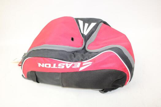Easton Red & Black Backpack With Baseball Gloves And Baseballs
