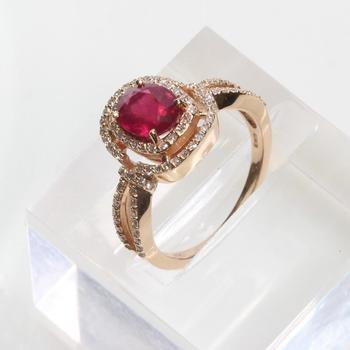 EFFY 14kt Rose Gold Ring With Diamonds And Ruby - Evaluated By Independent Specialist