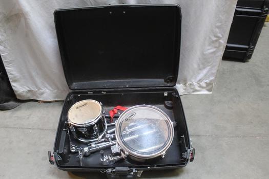 Evans Drum Pieces In Samsonite Rolling Hard Case