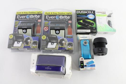 Ever Brite Motion-Activated Solar Power LED Lights And More, 7 Pieces