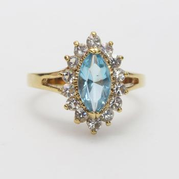 Fashion Ring With Blue And Clear Stones