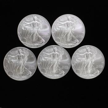 Five 2008 Silver American Eagle Coins