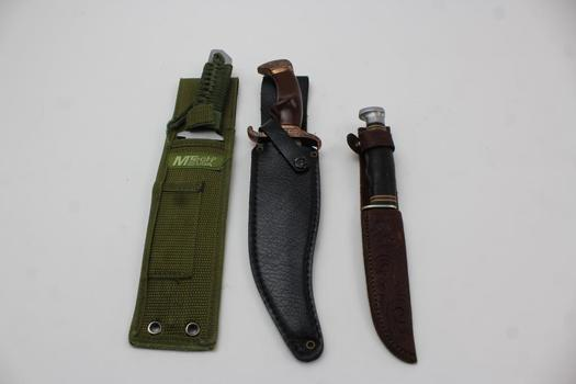 Fixed Blade Knives And Sheath: Ka-Bar, M-Tech And Unknown Brand: 3 Items