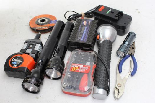 Flashlights, Black & Decker Battery, Road Pro Inverter, Pliers And More: 10+ Piecs