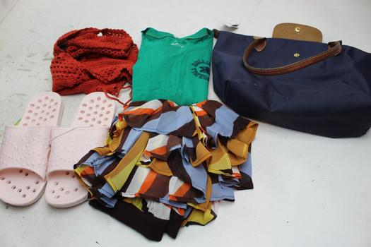 Forever 21, Hollister Clothing Lot, Purse, Sandals Unknown Brand, 5 Pieces