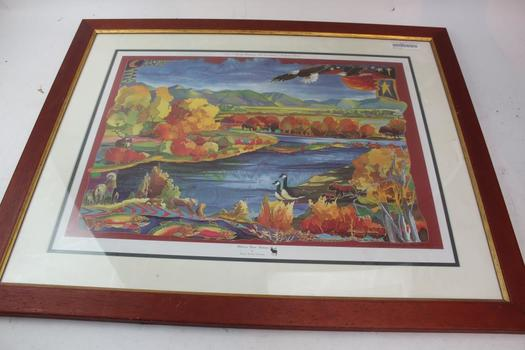 Framed Madison River Autumn By Nancy Dunlop Cawdrey Signed Print