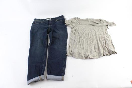 Free People Jeans And Shirt, 27 And M, 2 Pieces