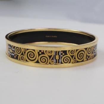 Frey Willie 18k Gold Gustav Klimt Bangle Bracelet, 33.99g