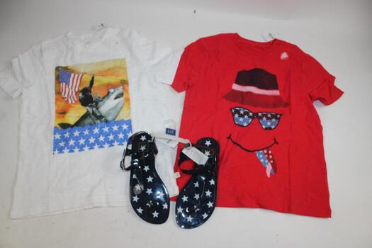 Gap Boy's Red T-Shirt Size M, Gap Boy's White T-Shirt Size M, And Gap Girl's Blue Star Sandals Size 4