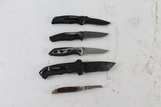 Gerber And Schrade Knives, 5 Pieces