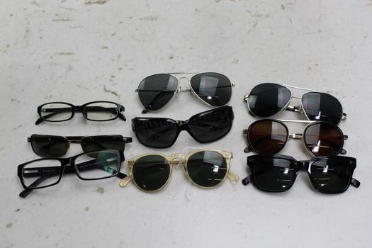 Giorgio Armani, Persol, Ralph Lauren+ More Sunglasses And Eyeglasses Bulk Lot,  9 Pieces