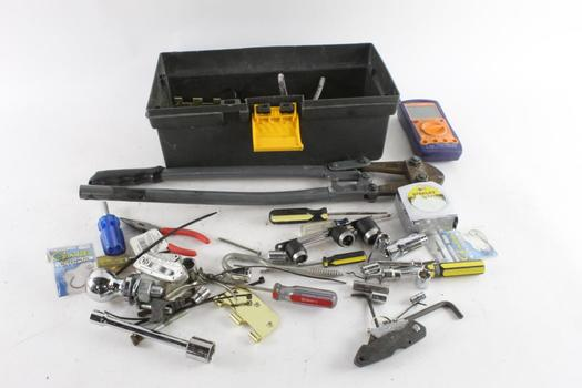 Gray Tool Box With Tools, 10+ Pieces