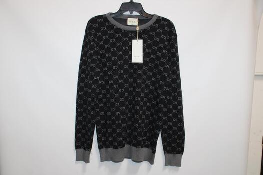Gucci Men's Black And Gray Sweater Size 2X And Giorgio Armani Black Duffel Bag