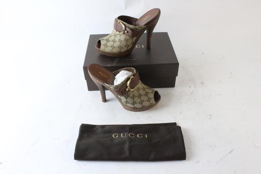 Gucci Womens Stirrup GG Canvas Clog Sandal Shoes, Size 40