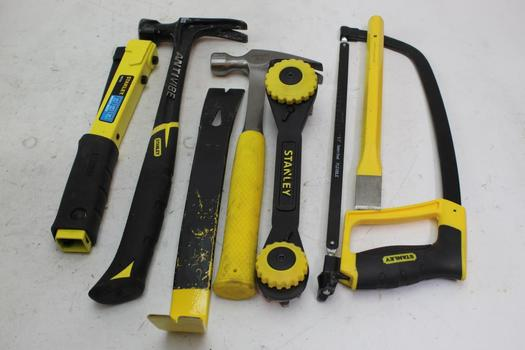 Hammers, Stanley Hand Saw, & More; 6 Pieces